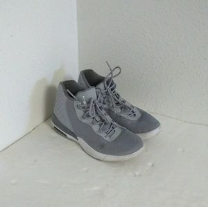 Air Jordan Youth Gray White Basketball Shoes.